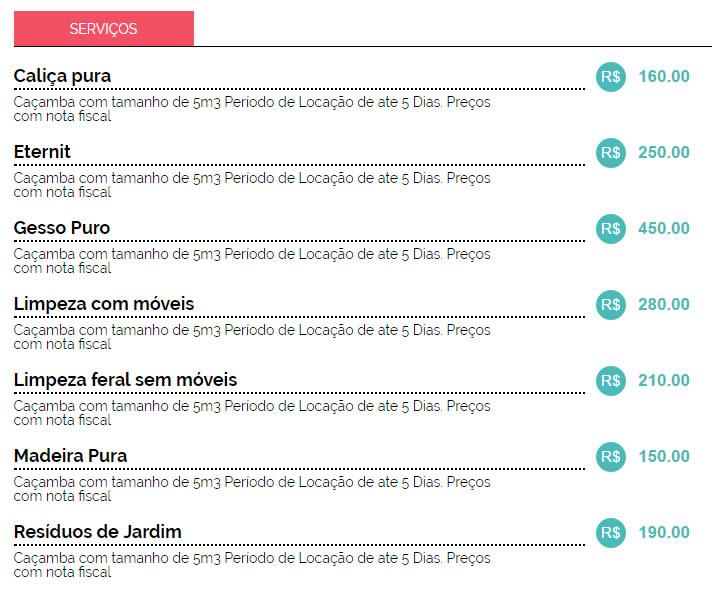 Preço de Aluguel de Caçambas em Curitiba